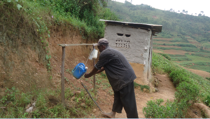 Washing hands after visiting latrine; Tipy-tap technology!